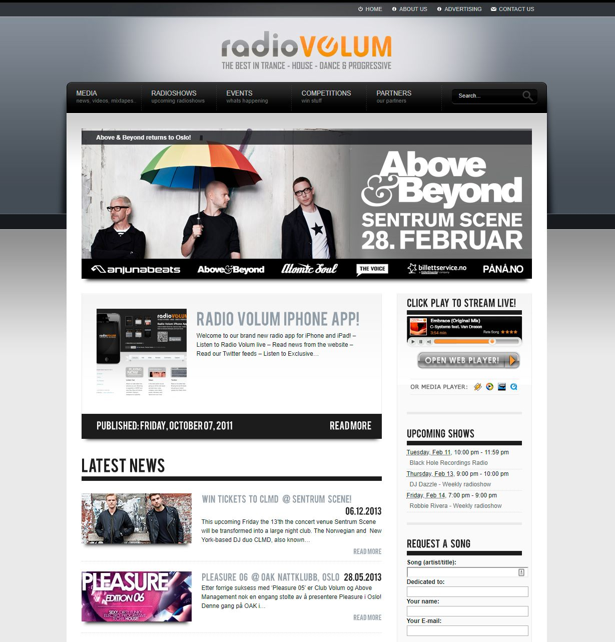 Radio Volum - Screenshot of website